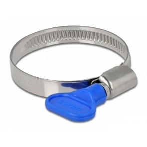 DELOCK σφιγκτήρας λαστιχοσωλήνα με πεταλούδα 32-50mm, μπλε, 10τμχ