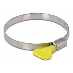 DELOCK σφιγκτήρας λαστιχοσωλήνα με πεταλούδα 60-80mm, κίτρινος, 10τμχ