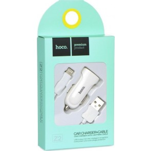 Hoco Z2 Car Charger Set White Lightning Cable