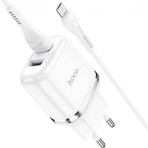 Hoco micro USB Cable & 2x USB-A Wall Adapter Λευκό (N4 Aspiring)