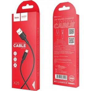 Hoco Regular USB 2.0 Cable USB-C male - USB-A male Μαύρο 1m (X25 Soarer)