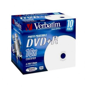 DVD ROH+R  4.7GB/ 16x  Verbatim  printable (Jewel)