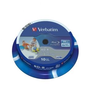 BD-R Verbatim LTH 25 GB /1-6x Cakebox(10er) print.