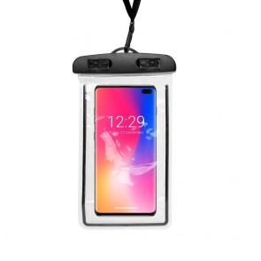 Waterproof bag FLUO for mobile phone with plastic closing - black