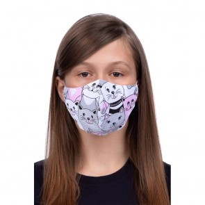 Profiled face mask for kids 8-12 - cat