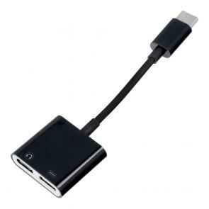Adaptor HF/audio + charging Type C to Type C black BULK