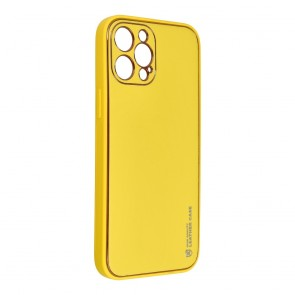 Forcell LEATHER Case for IPHONE 12 PRO MAX yellow