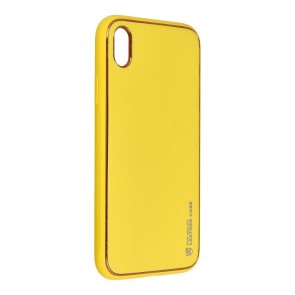 Forcell LEATHER Case for IPHONE XR yellow