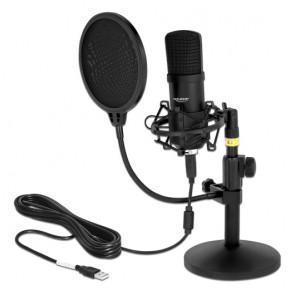 DELOCK μικρόφωνο studio με pop φίλτρο & αντιανέμιο 66300, πυκνωτικό, USB