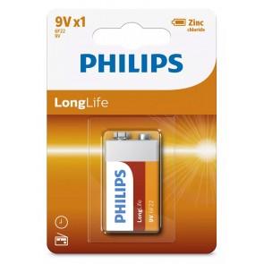 PHILIPS LongLife Zinq chloride μπαταρία 6F22L1B/10, 6F22 9V, 1τμχ