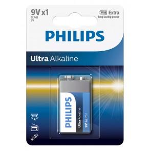 PHILIPS Ultra αλκαλική μπαταρία 6LR61E1B/10, 6LR61 9V, 1τμχ
