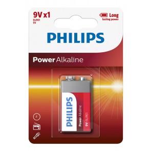PHILIPS Power αλκαλικές μπαταρίες 6LR61P1B/10, 6LR61 9V, 1τμχ