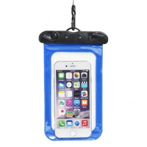 Waterproof bag for mobile phone with plastic closing - blue