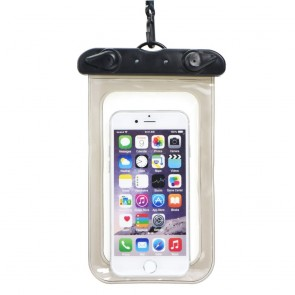 Waterproof bag for mobile phone with plastic closing - black