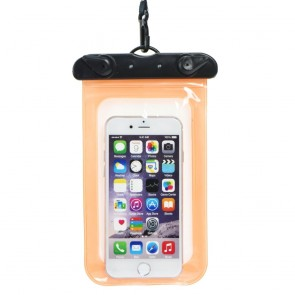 Waterproof bag for mobile phone with plastic closing - orange