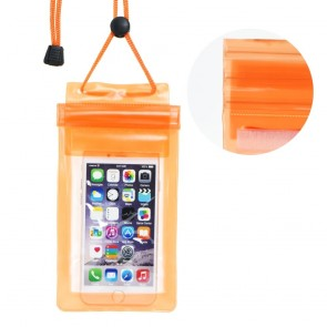 Waterproof bag for mobile phone with Zipper closing - orange