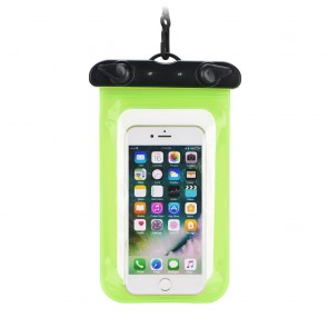 Waterproof bag for mobile phone with plastic closing - green