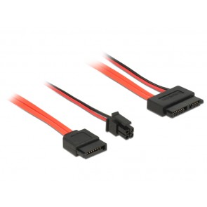 DELOCK Cable SATA 6Gb/s 7pin + 4pin σε SATA 13pin, γωνιακό 30 cm