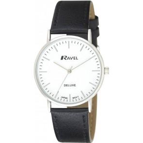 Ravel Deluxe timeless ρολόι με μαύρο δερμάτινο λουράκι (38 mm) RD110G