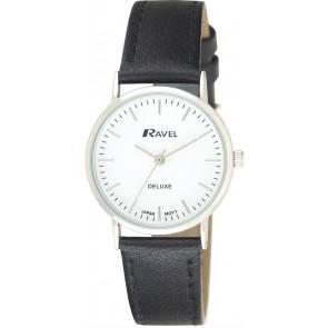 Ravel Deluxe timeless ρολόι με μαύρο δερμάτινο λουράκι (30 mm) RD110L