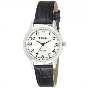 Ravel Deluxe timeless ρολόι με μαύρο δερμάτινο λουράκι (30 mm) RD102L
