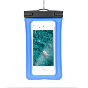 Waterproof AIRBAG for mobile phone with plastic closing - blue