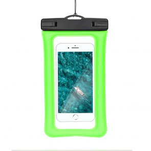 Waterproof AIRBAG for mobile phone with plastic closing - green