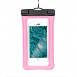 Waterproof AIRBAG for mobile phone with plastic closing - pink