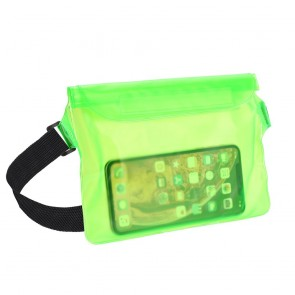 Waterproof bag for mobile phone with Belt clip - green