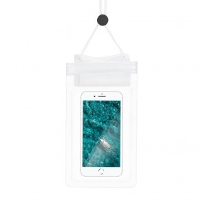 Waterproof bag for mobile phone with Zipper closing - white