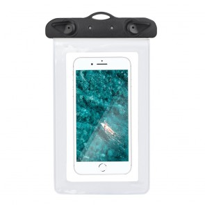 Waterproof bag for mobile phone with plastic closing - white
