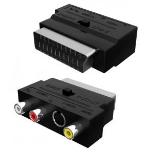 POWERTECH αντάπτορας SCART σε audio/video & S-Video CAB-S011, μαύρος