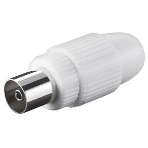 POWERTECH βύσμα κεραίας PAL CAB-V031, θηλυκό, 15.88mm, λευκό, 5τμχ