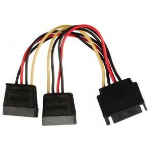 Powertech sata power 15pin male / 2x 15pin female 15pin