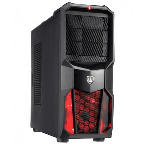 POWERTECH Gaming Case, LED fan 120mm red, χωρίς PSU