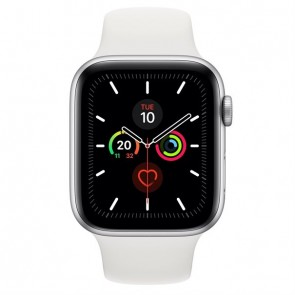 Apple Watch Series 5 silver aluminium  44mm white sport band DE