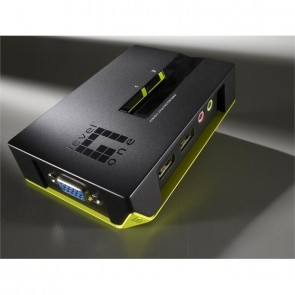 LevelOne KVM-Switch 2 PC VGA+USB+Audio Black E.