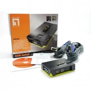 LevelOne KVM-Switch 2 PC VGA+USB Black Edition