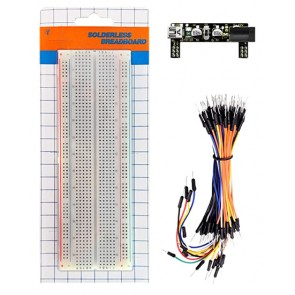 KEYESTUDIO Power+830-Hole Solderless breadboard KS0312, 65x Jumper Wires
