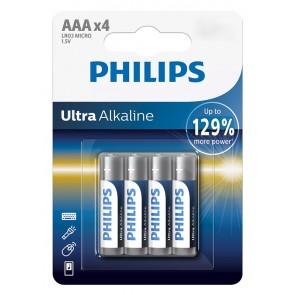PHILIPS Ultra αλκαλικές μπαταρίες LR03E4B/10, AAA LR03 1.5V, 4τμχ