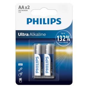 PHILIPS Ultra αλκαλικές μπαταρίες LR6E2B/10, AA LR6 1.5V, 2τμχ