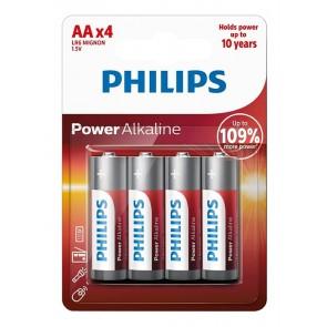 PHILIPS Power αλκαλικές μπαταρίες LR6P4B/10, AA LR6 1.5V, 4τμχ