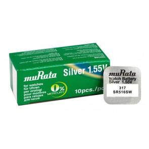 MURATA μπαταρία Silver Oxide για ρολόγια SR516SW, 1.55V, No317, 10τμχ