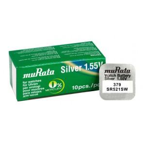 MURATA μπαταρία Silver Oxide για ρολόγια SR521SW, 1.55V, No379, 10τμχ