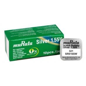 MURATA Μπαταρία λιθίου για ρολόγια SR616SW, 1.55V, No 321, 10τμχ
