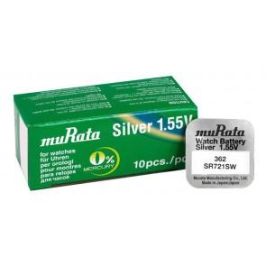 MURATA μπαταρία Silver Oxide για ρολόγια SR721SW, 1.55V, No 362, 10τμχ