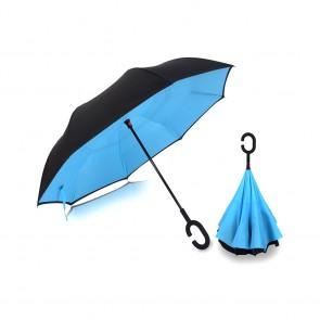 Ομπρέλα Kazbrella αντίστροφης δίπλωσης, λαβή σχήματος C, με θήκη, μπλε