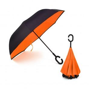 Ομπρέλα Kazbrella αντίστροφης δίπλωσης, λαβή σχήματος C, θήκη, πορτοκαλί