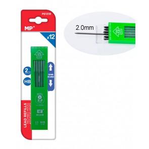 MP ανταλλακτικές μύτες για μηχανικό μολύβι PE131R, ΗΒ, 2mm, 12τμχ