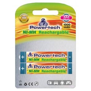 POWERTECH Επαναφορτιζόμενη 1000mAh, AAΑ (R03), 2 τμχ